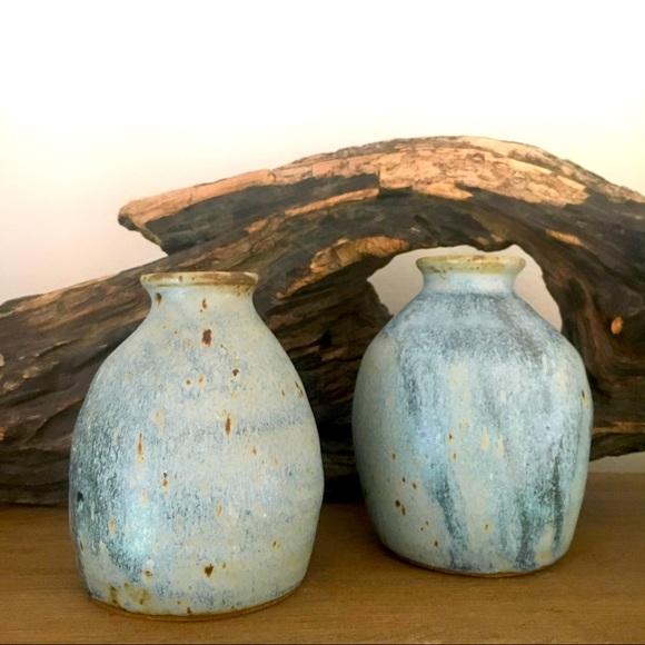 Vintage Blue Studio Pottery Vase Pair
